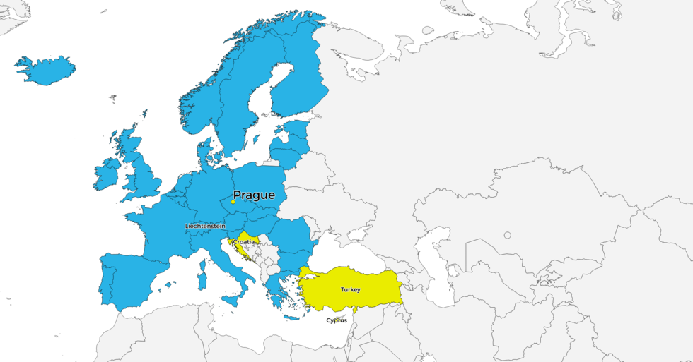 Map of the members of the Bologna Process at the Prague Ministerial Conference